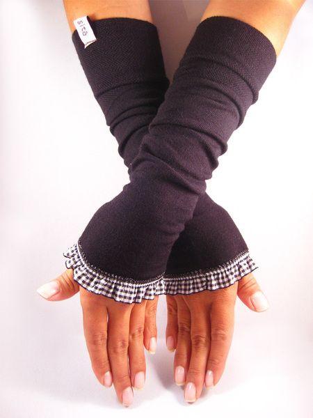 Stulpen, Armstulpen, Pulswärmer - schwarz, weiß von by sita  auf DaWanda.com