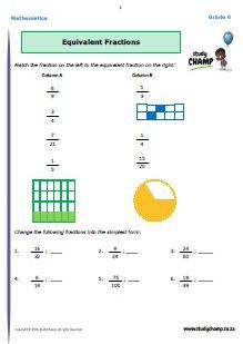 Mathematics : Grade 6: Math - Fractions workbook