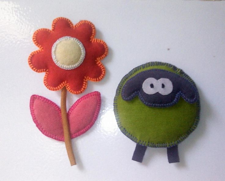 Fabric brooch flower and sheep by olip pia handmade