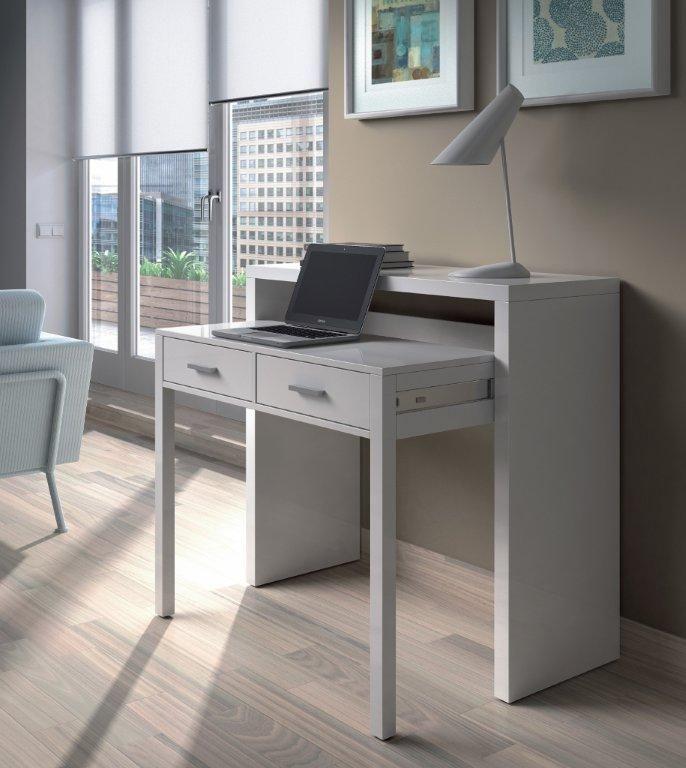 Tressa White Gloss Computer Desk Dressing Table Console Table Furniture 004582bo