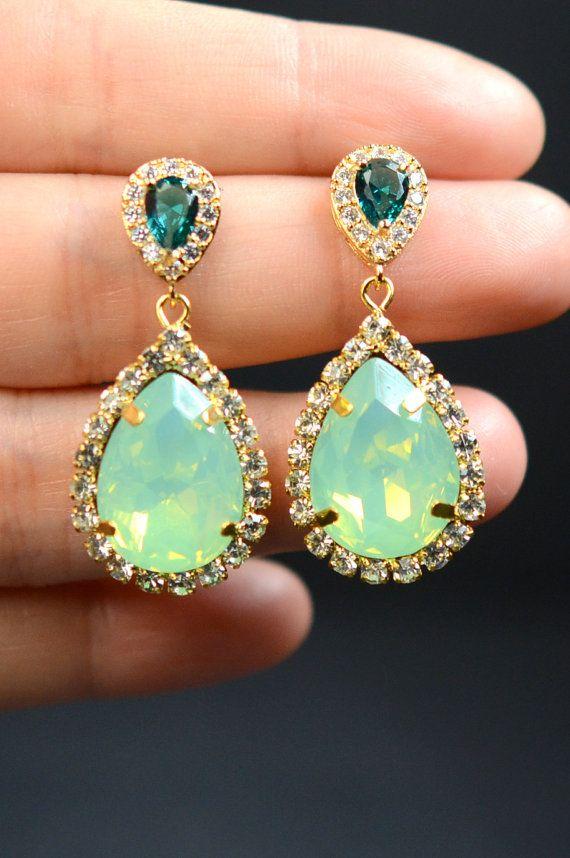 Mint studs earrings,Mint green earrings,emerald earrings,teal earrings,drop dangle earrings,studs earrings,bridesmaid gifts,gold earrings