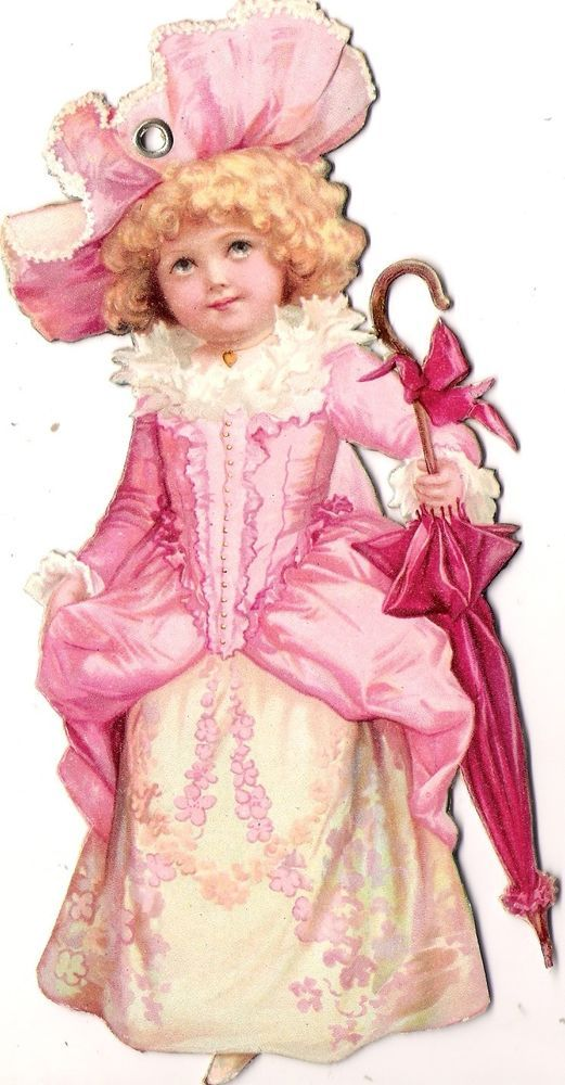 Oblaten Glanzbild scrap die cut chromo lady 18cm Kind child girl fille Schirm:
