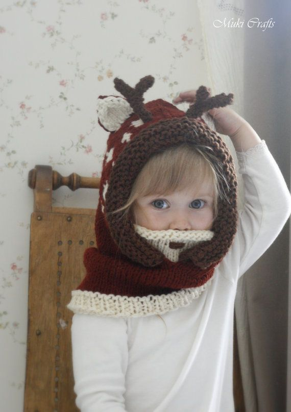 KNITTING PATTERN hooded cowl deer fawn Bämbi with by MukiCrafts