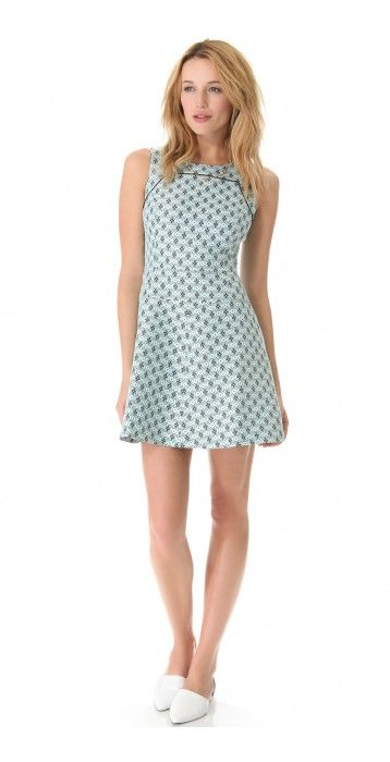 LEONORA DRESS $267.00 SPECIAL $40.05 YOU SAVE: 85% A jacquard pattern brings elements of geometry to a Club Monaco dress, and an A-line skirt makes the silhouette feminine. Solid piping outlines the yoke. Hidden back zip. Lined.