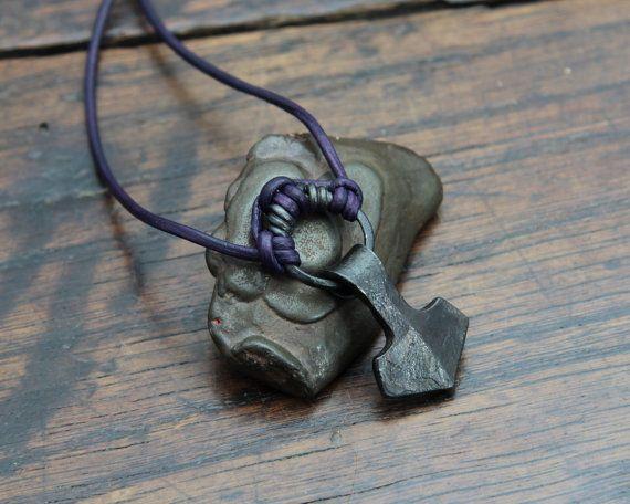 Small Ringed Viking Thors Hammer Necklace Mjolnir by Taitaya