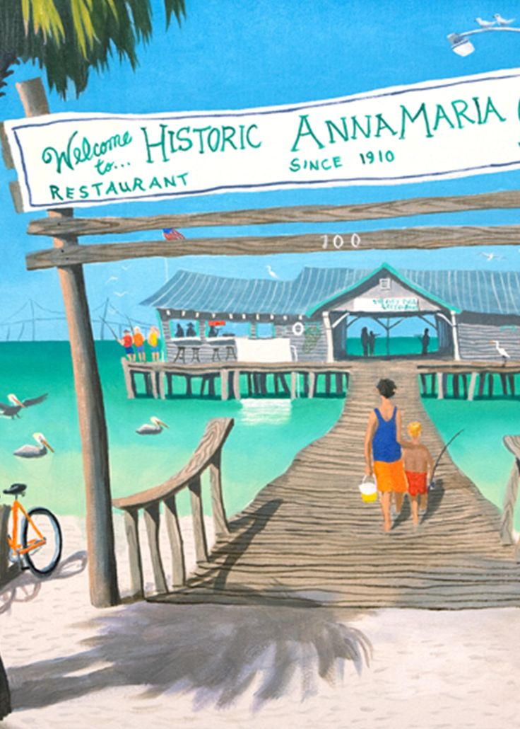 Welcome to the historic Anna Maria Island city pier! Oil painting by Robert Johnson. #historiccitypier #florida #annamariaisland #floridaliving