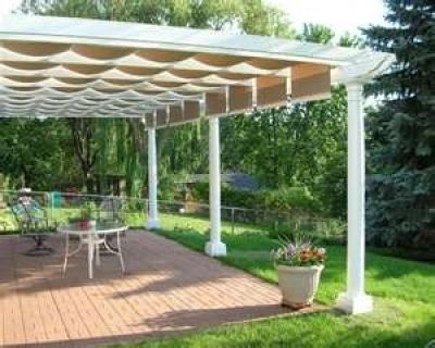 There has to be a way to make a retractable awning yourself!!! Shading Options for Your Patio or Deck