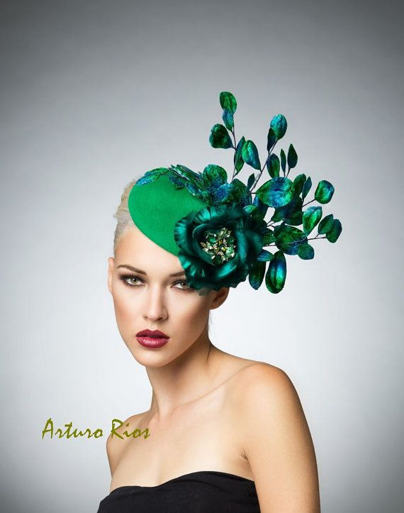 From my New Fall/winter 2014 collection here is this Gorgeous Emerald Green headpiece, made on a hand blocked velour base, adorned with Vintage