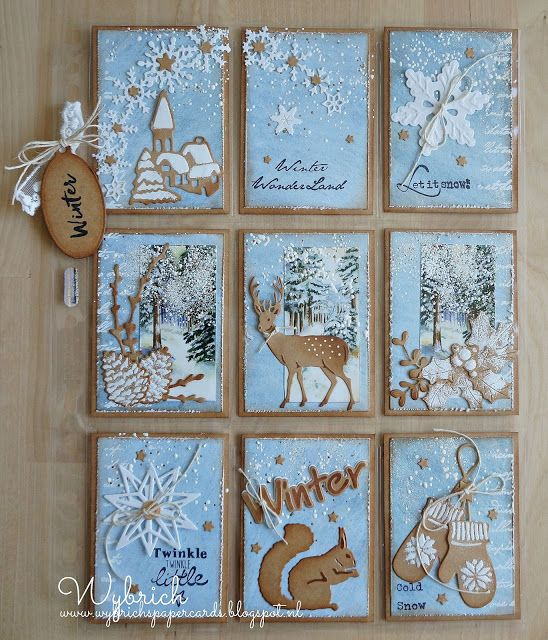 Pocket Letter by DT member Wybrich with among others Craftables Punch die - Ice Crystals (CR1335), Tiny's Squirrel & Rabbit (CR1340), Ice Crystals Arche (CR1345), Winter Wonderland (CR1347) and Creatables Tiny's Pinecones (LR0296) by Marianne Design