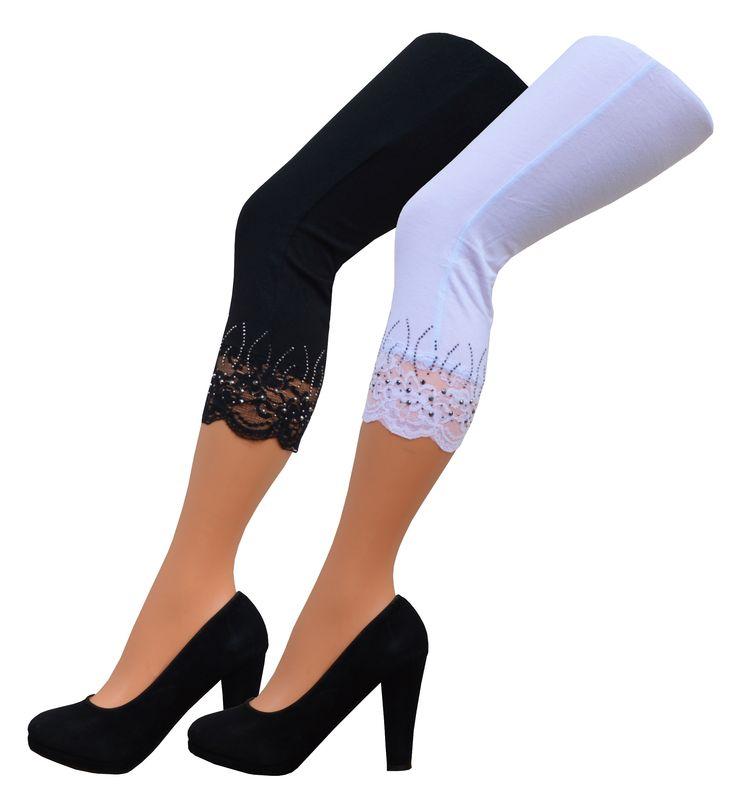 Damen Capri Leggings mit Spitzenabschluß und Glitzer, Blickdicht, Viskose