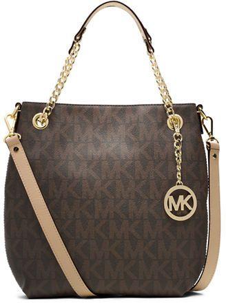 MICHAEL Michael Kors Jet Set Leather Trimmed Medium Shoulder Tote Bag on shopstyle.com