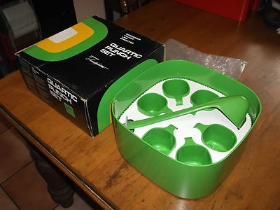 VINTAGE RETRO FUNKY BNIB GREEN BESSEMER PUNCH SET SUIT GAYWARE KARTELL COLLECTOR