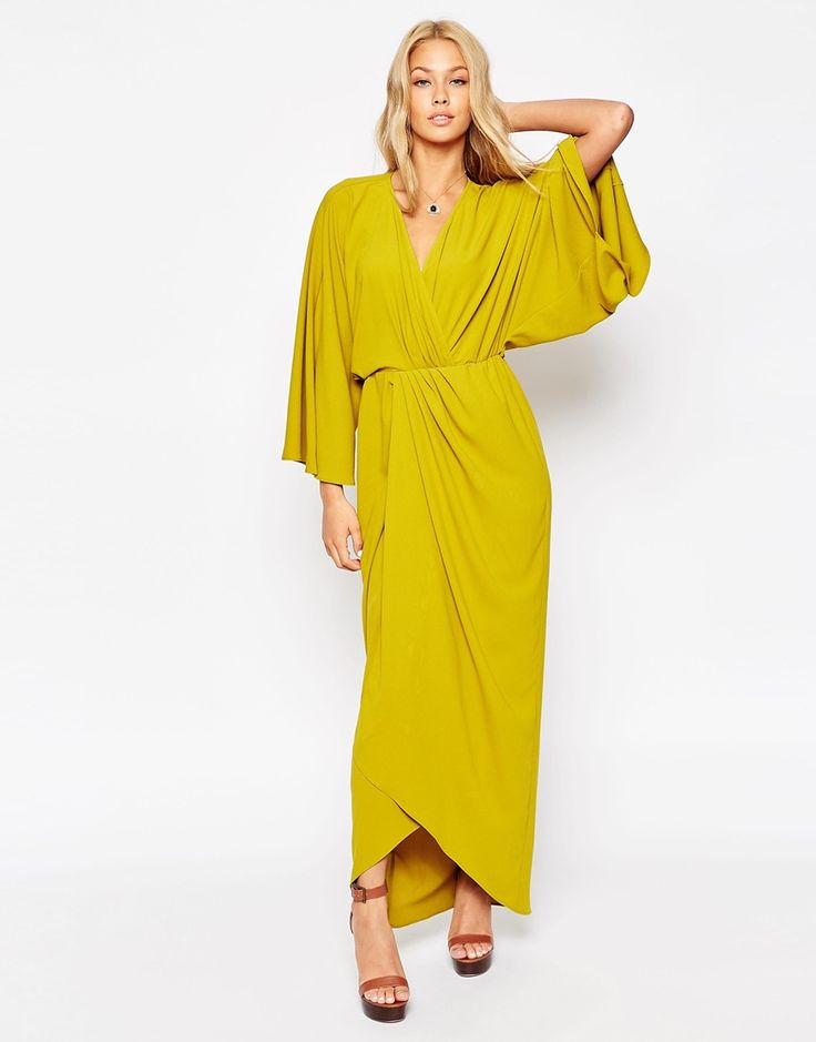 Image 1 of ASOS 70's Kaftan Wrap Maxi Dress
