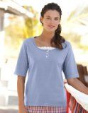 Orvis Women's Lace-inset Henley, Cornflower, Medium   Mountain Tshirt