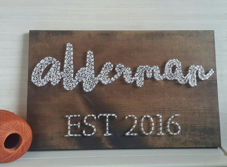 Modern Last Name Est String Art Wooden Sign Personalized
