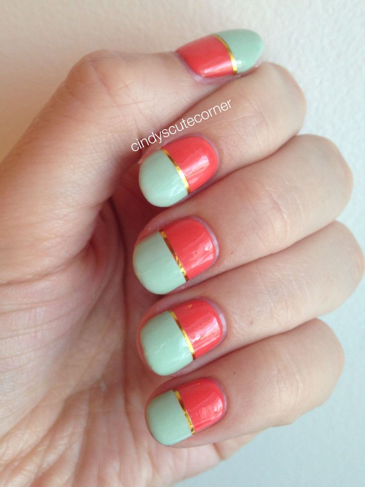 Orange and Mint Spring Nails! So in love with how they turned out. They are like the perfect Spring Nails. If you wanna know more on how I did them, go read my blog!