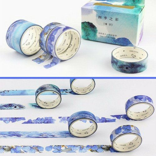 5 washi tape - 5 shades of blue - japanese design
