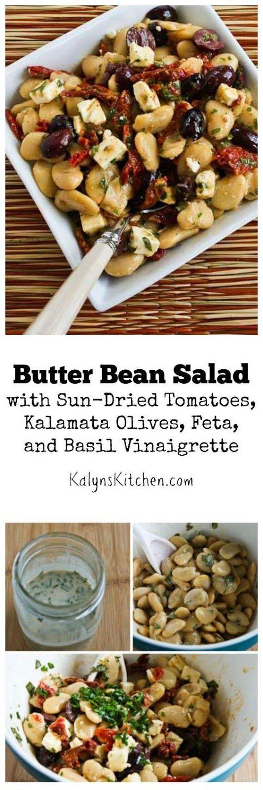 Butter Bean Salad with Sun-Dried Tomatoes, Kalamata Olives, Feta, and Basil Vinaigrette found on KalynsKitchen.com.