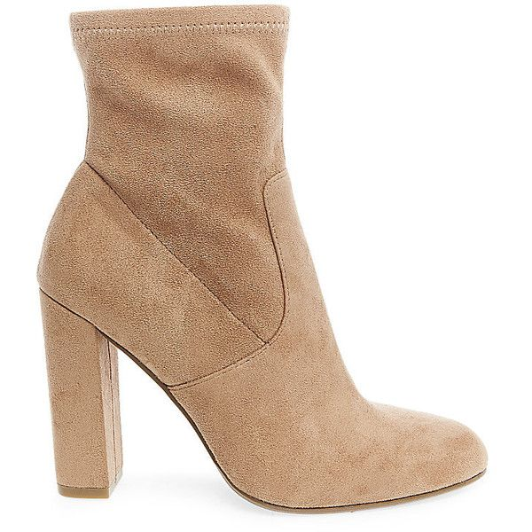 Steve Madden Women's Edit Booties ($100) ❤ liked on Polyvore featuring shoes, boots, ankle booties, booties, ankle boots, camel fabric, high heel ankle boots, slouch ankle boots, short boots and slouch booties