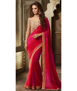 Adoring Pink And Red Georgette Saree.