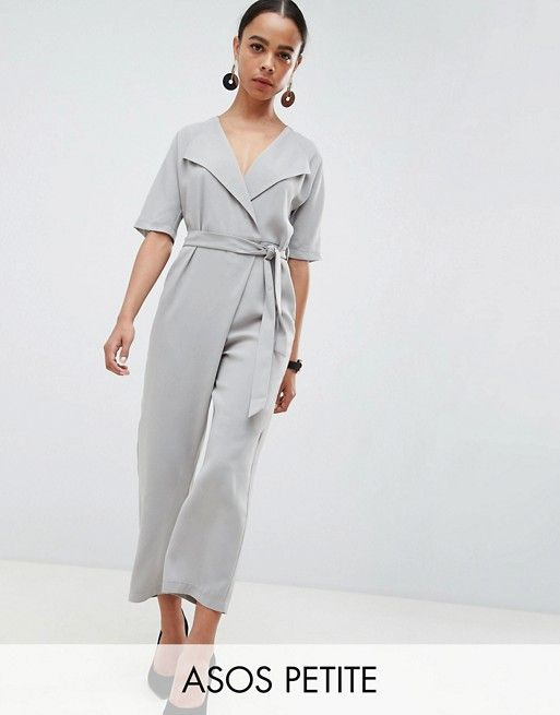 1b0fff0ece DESIGN Petite Wrap Jumpsuit With Self Belt