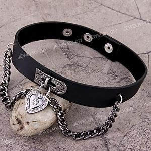 "I found 'Heart Pendant Biker Punk Goth Men Leather Necklace Collar Choker Cuff 1.2x0.9""' on Wish, check it out!"