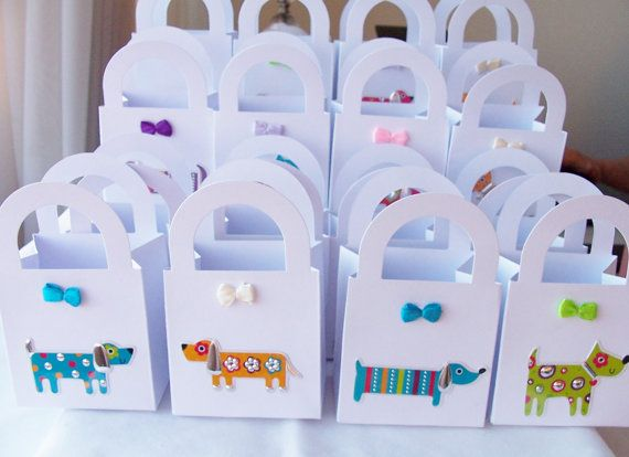 16 Doggie themed party favour boxes - gift boxes - birthday/baby shower party favours - doggie themed party on Etsy, $20.00