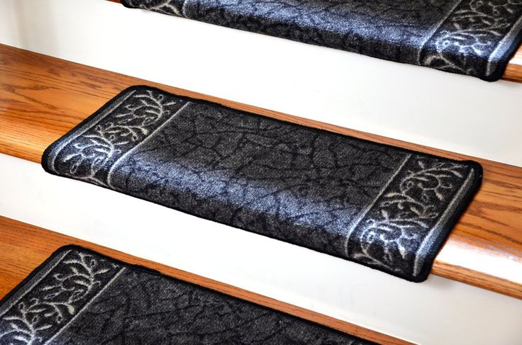 Dean Flooring Company has DIY modern bullnose wraparound carpet stair treads in garden path black in stock. Visit for more info, prices & deals!