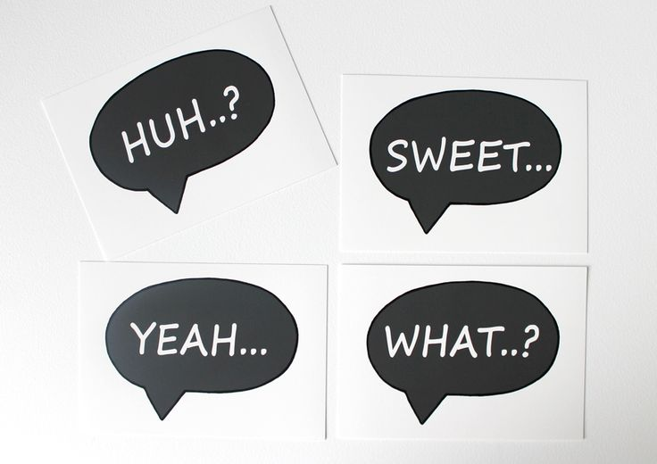 Speech Bubble Prints add a little quirk to any space! They are designed with boys in mind and reflect some...ah...rather common words of older boys...at least in my experience!! Available as 4 different A5 prints - Yeah... - Huh..? - What... - Sweet...