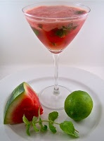 Watermelon cocktail: Ice Cubes, 3 4 Mint, Drinks Cocktails, Mouthwat Watermelon, Limes 3 4, Watermelon Cocktails, Mouths Water, 3 4 Cups, As Sprig