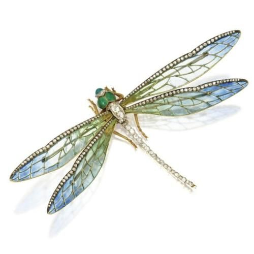 Dragonflies were particularly popular subjects for brooches as their wings allowed jewelers to show off their most delicate enamel work. This piece was made by Edgar Bense circa 1900. Ye Olde Fashion