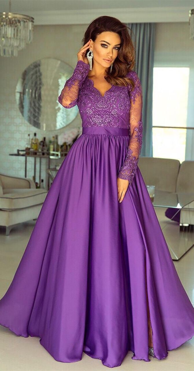 09a9d3e8136a elelgant long sleeves purple evening dresses,formal a line prom dresses  with lace,cheap party dresses for teens #dressywomen #promdresses  #eveningdresses # ...