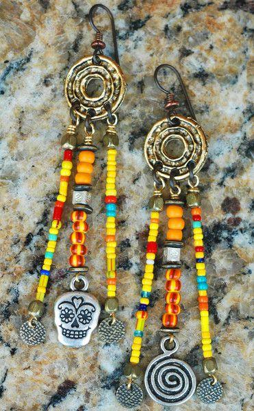 Chandelier Earrings | Skull | African | Tribal Jewelry | XO Gallery | XO Gallery