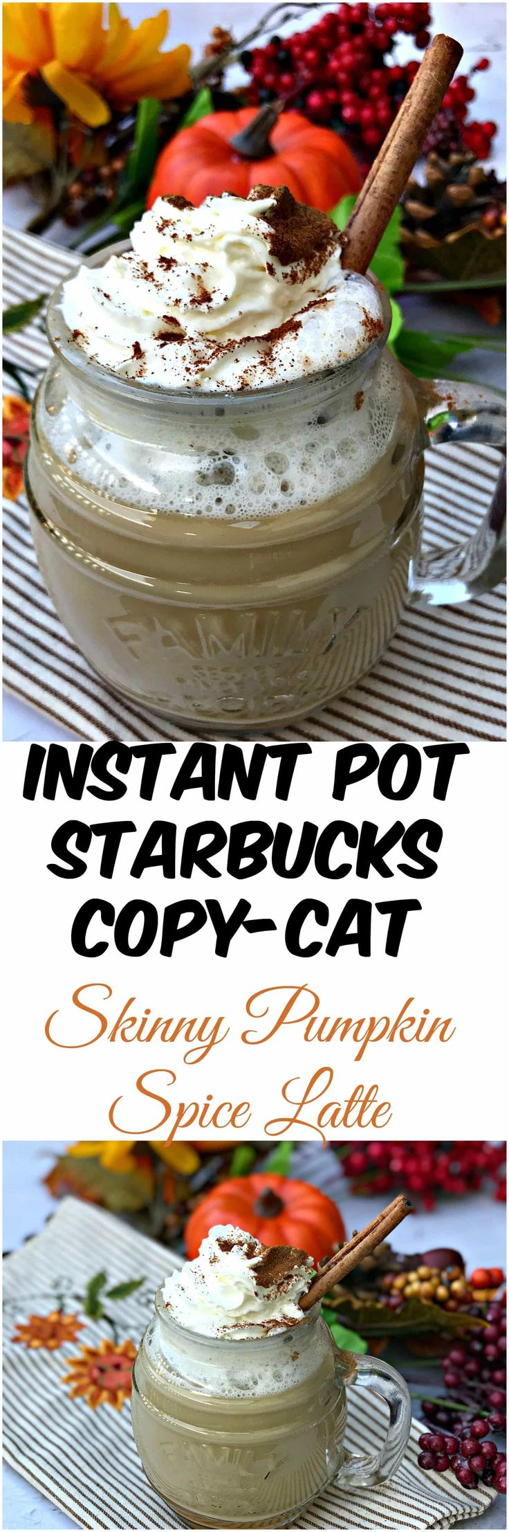 Instant Pot Starbucks Copy Cat Skinny Pumpkin Spice Latte is a quick and easy pressure cooker, low-calorie and a reduced-sugar recipe that mirrors the Starbucks latte.