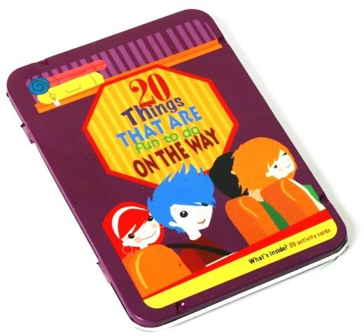 Intended for travellers only; this set of cards is a real boredom buster. Each tin box contains a series of activity cards that includes 20 brilliant ideas and games. On the Way – mix up the cards, draw one out, and…. the journey begins #stockingstuffers #Christmas2013 #traveltoy #boredombuster