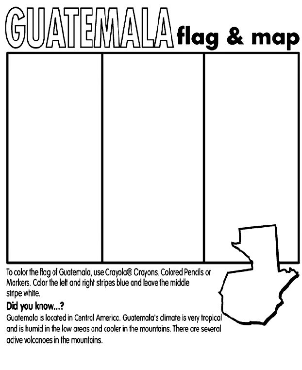 Use Crayola® crayons, colored pencils, or markers to color the flag of Guatemala. Color the left and right stripes sky blue, and color (or leave) the middle stripe white. Color the emblem green.  <b>Did you know?</b><br>Guatemala is located in Central America. Guatemala's climate is very tropical, and is humid in the low areas and cooler in the mountains. There are several active volcanoes in the mountains.