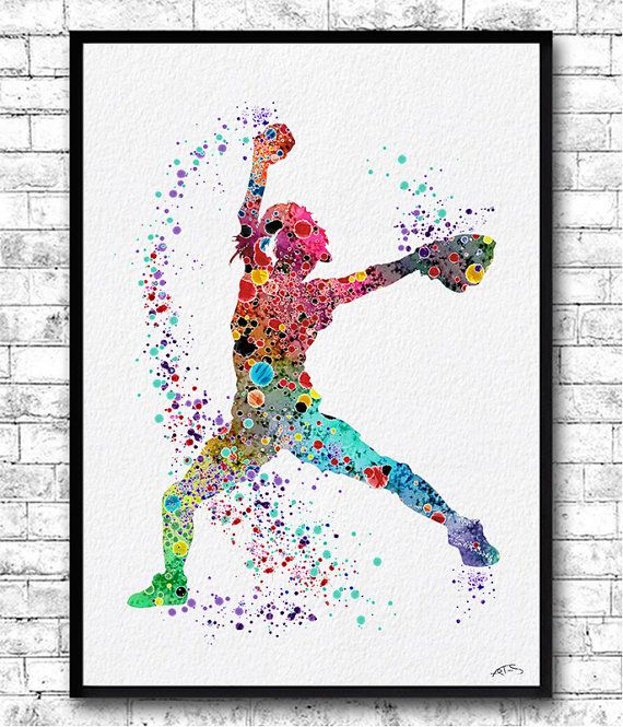 Baseball Softball Pitcher Watercolor Print Art Print by ArtsPrint
