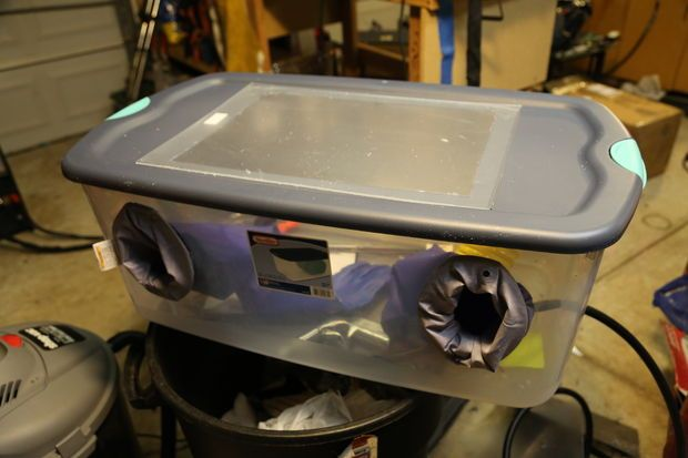 $50 homemade sandblaster. Read the comments, too, some are helpful.
