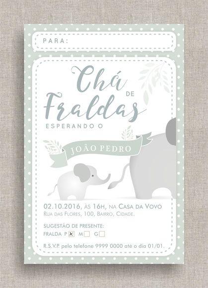 Convite Digital Chá de Fraldas 26 Convite Chá de Bebê, tema elefantes, bolinhas, diferente, moderno, delicado, elegante. Baby shower invite, elephants theme, polkadots.