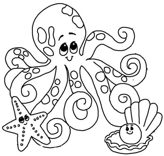 Cute Octopus Starfish Pearl Shell Coloring Page Octopus Coloring