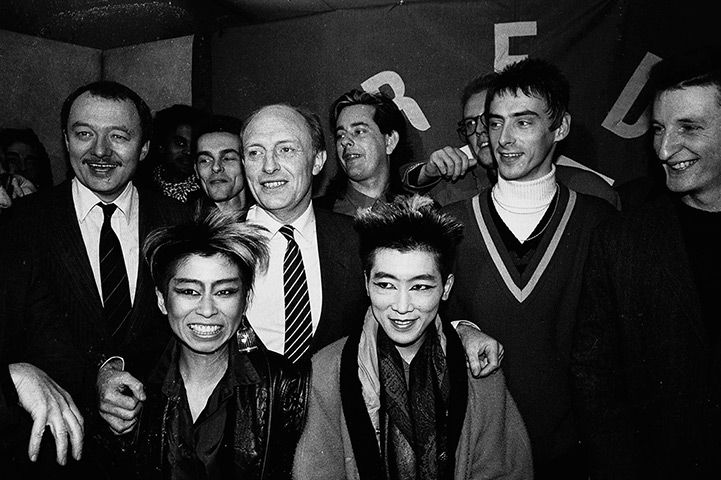 Paul Weller with Labour Leader Neil Kinnock and Ken Livingstone at the launch of Red Wedge