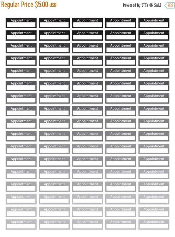 "80% Until New Year - Rainbow Appointment Planner Stickers - Black and White - Instant Download - Digital Artwork by mormonlinkshop  1.00 USD  Appointment Stickers for your planner. Each rectangular tile has the phrase ""Appointment"" and you can write your appointment on it. It is an easy way to remember your daily appointment and can easily be used with your daily planner. Hang this now! The JPEG PDF and PNG files will become available for instant download once your payment is confirmed…"