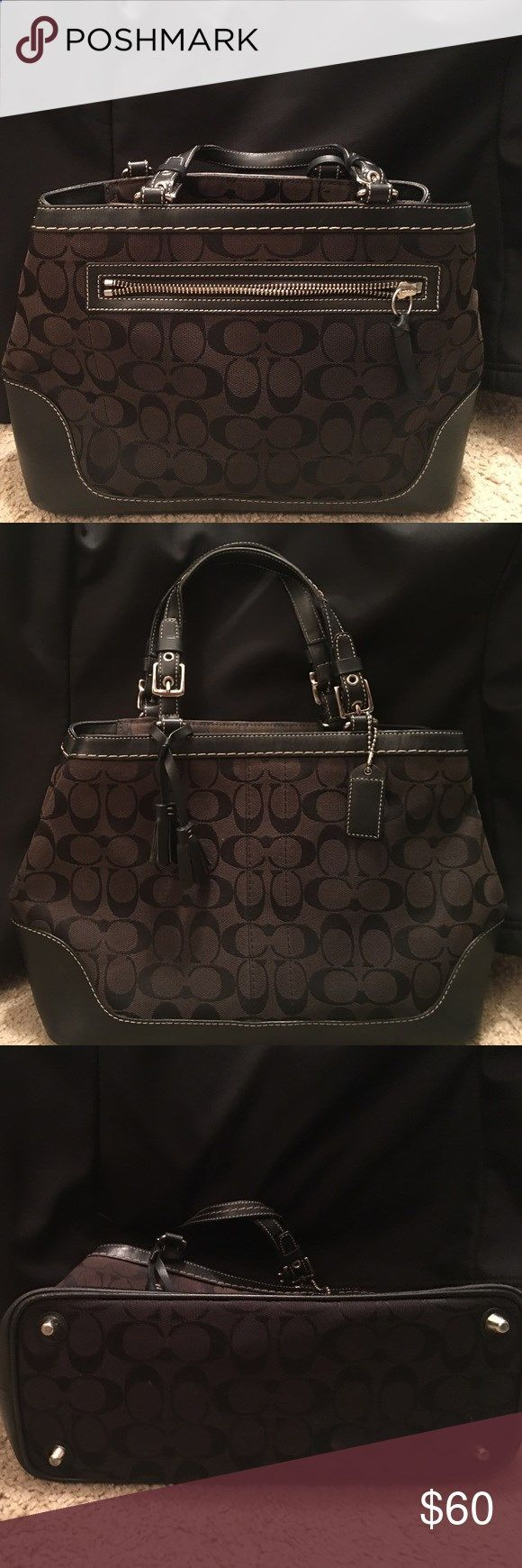 BEAUTIFUL BLACK COACH PURSE 100% AUTHENTIC This is a gorgeous Coach Purse in great used condition! No stains! No rips! No tears! Coach Bags Satchels