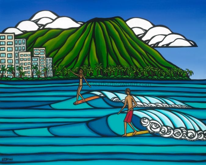 Surf art by local artist, Heather Brown from the North Shore, Oahu - waves, ocean, #surf art from #Hawaii
