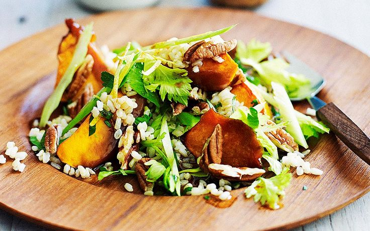 There is nothing boring about this inventive salad. Bold flavours of roast pumpkin, maple syrup and soy sauce mix with brown rice and leafy greens to give your view of salads a pleasant refresher.