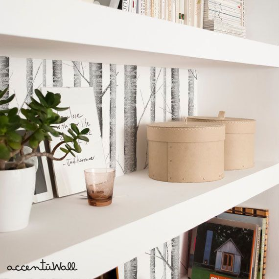 Removable Wallpaper Birch Tree Peel & Stick Fabric por AccentuWall