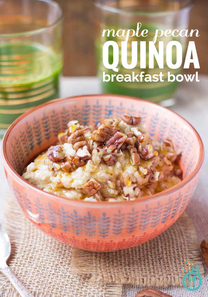 Start the day with a delicious Maple Pecan Quinoa Bowl! Vegan, gluten-free, and takes only 5 minutes to make!