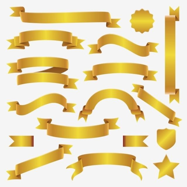 Golden Ribbon And Banner Set Gold Price Ribbon Png And Vector With Transparent Background For Free Download Ribbon Png Banner Ribbon