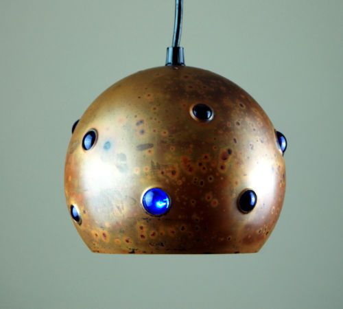 Patinated Copper and Glass Pendant Light | Nanny Still for Raak | 1960s