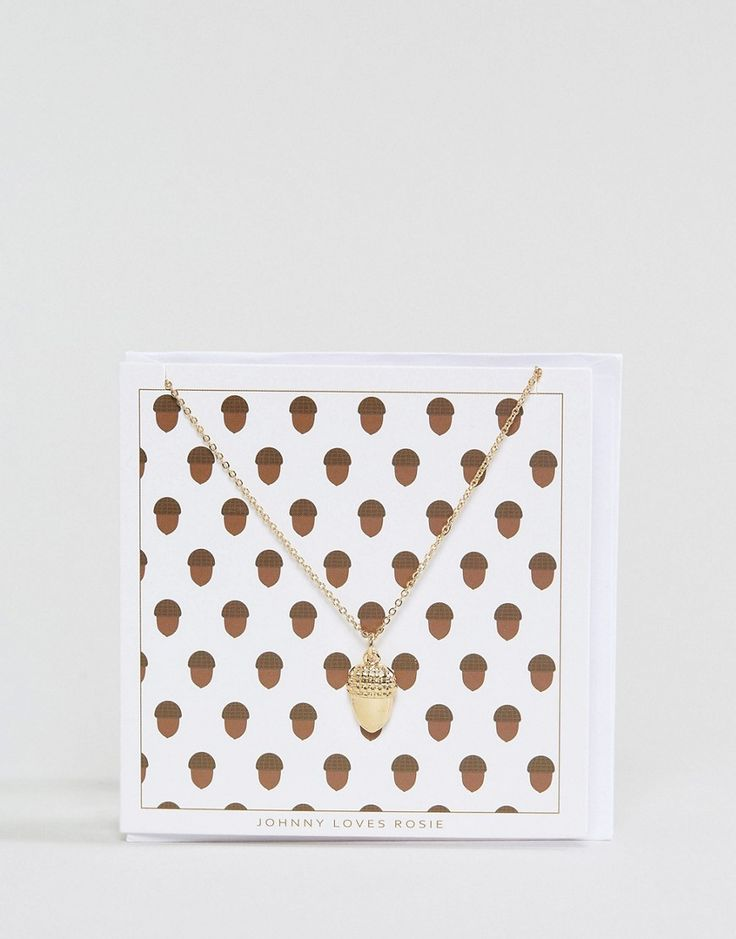 Johnny Loves Rosie Acorn Necklace On Gift Card - Gold